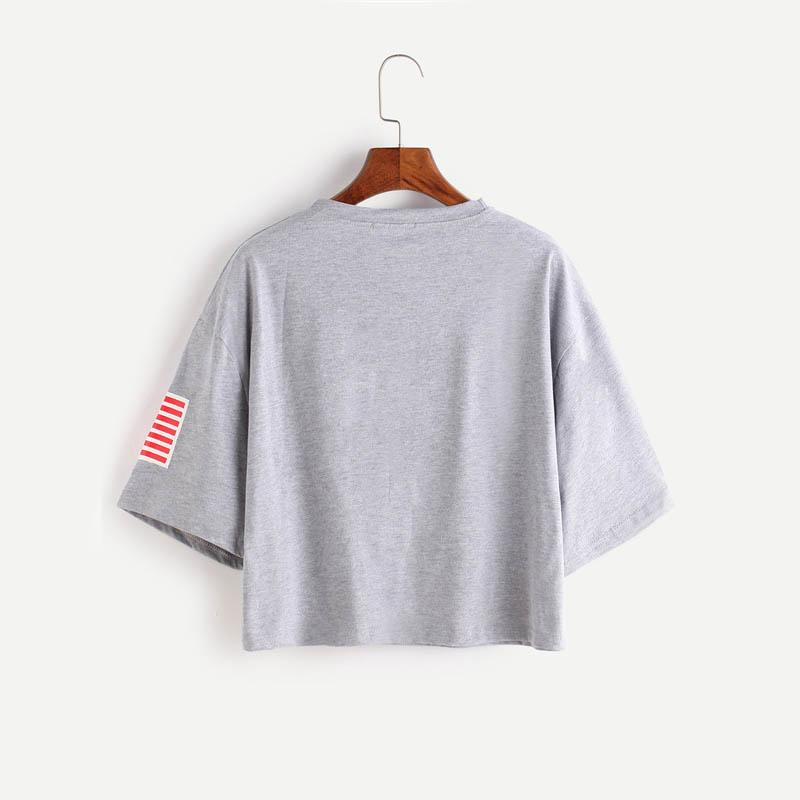 USA Grey Drop Shoulder Top-w tee-Venture Modern-Venture Modern