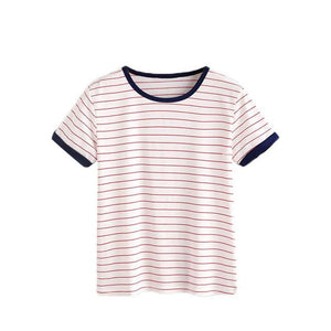 Red Striped Color Block Top-w tee-Venture Modern-Red-S-Venture Modern