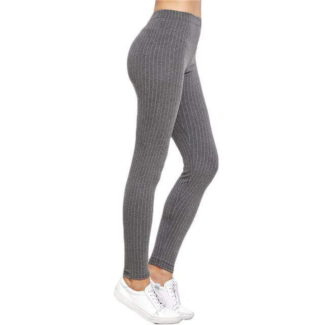 Vertical Stripe Casual Leggings-w leggings-Venture Modern-Gray-S-Venture Modern