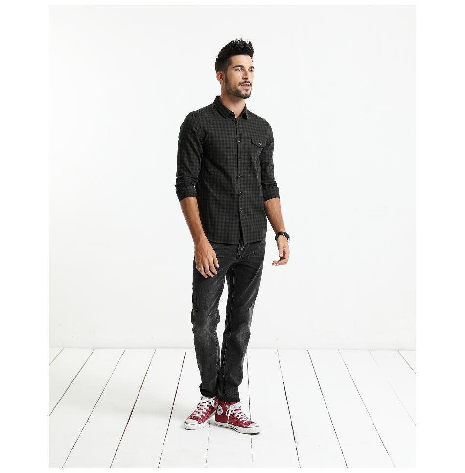 Slim Fit Long Sleeve Plaid Shirt-m shirt-Venture Modern-Venture Modern