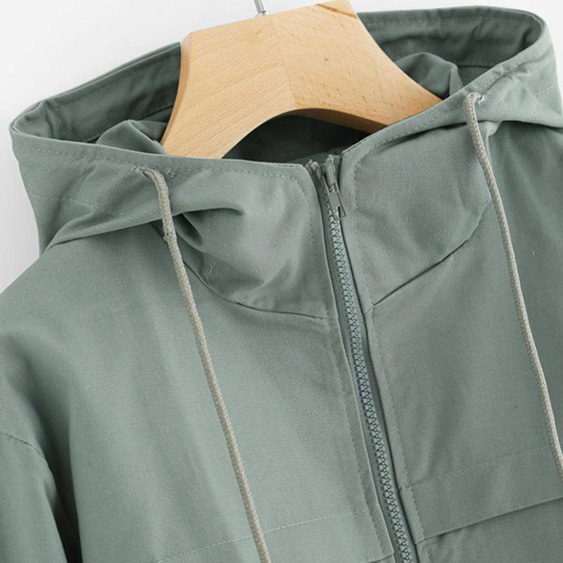 Green Zip Up Hooded Jacket-w jacket-Venture Modern-Venture Modern
