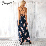Boho Style Deep V Neck Backless Split Dress-w dress-Venture Modern-Venture Modern