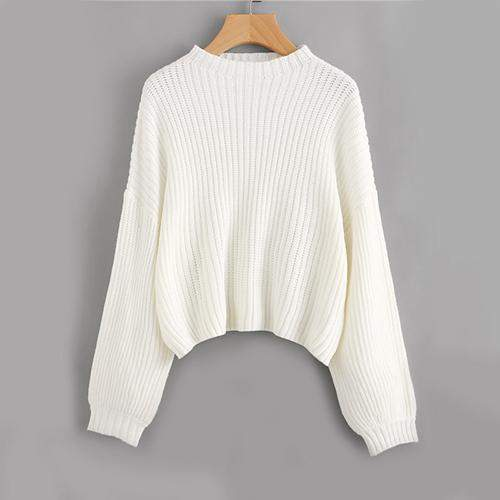 White Drop Shoulder Sweater-w sweater-Venture Modern-Venture Modern