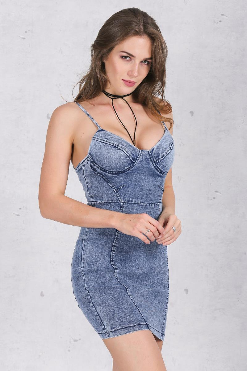 Sexy Backless Denim Dress-w dress-Venture Modern-Venture Modern