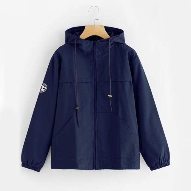 Navy Zip Up Winter Jacket-w jacket-Venture Modern-Venture Modern