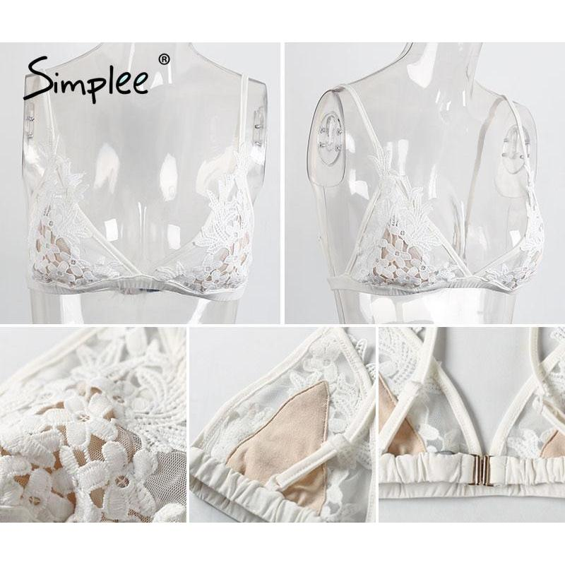 Sexy Transparent Unpadded Wire Free Lace Bralette-w bralette-Simplee-Venture Modern