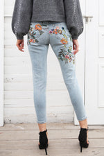Floral Embroidery High Waist Jeans Light Blue Denim-w pants-Venture Modern-Venture Modern