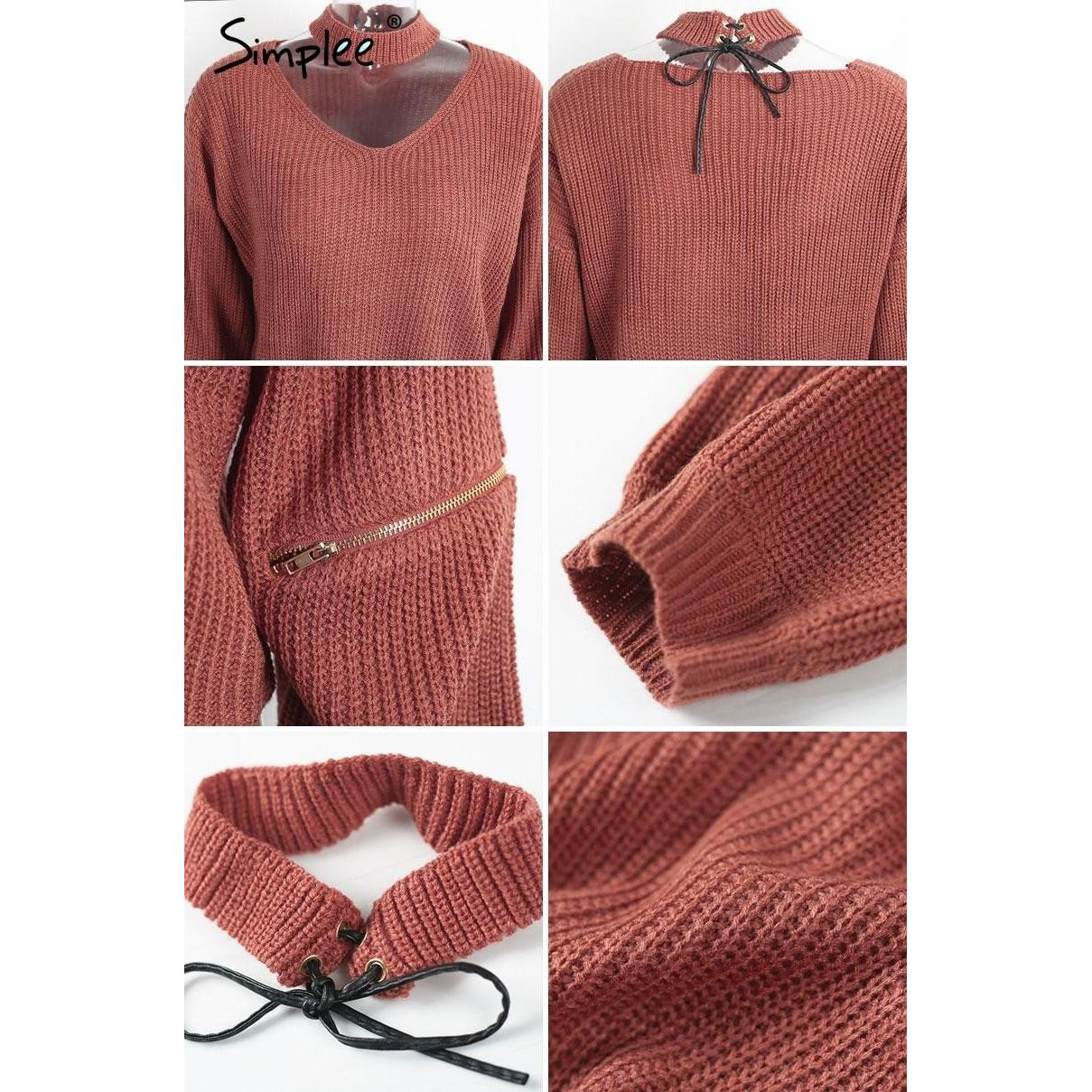 Loose Open Sweater With Choker And Zippers-w sweater-Simplee-Venture Modern