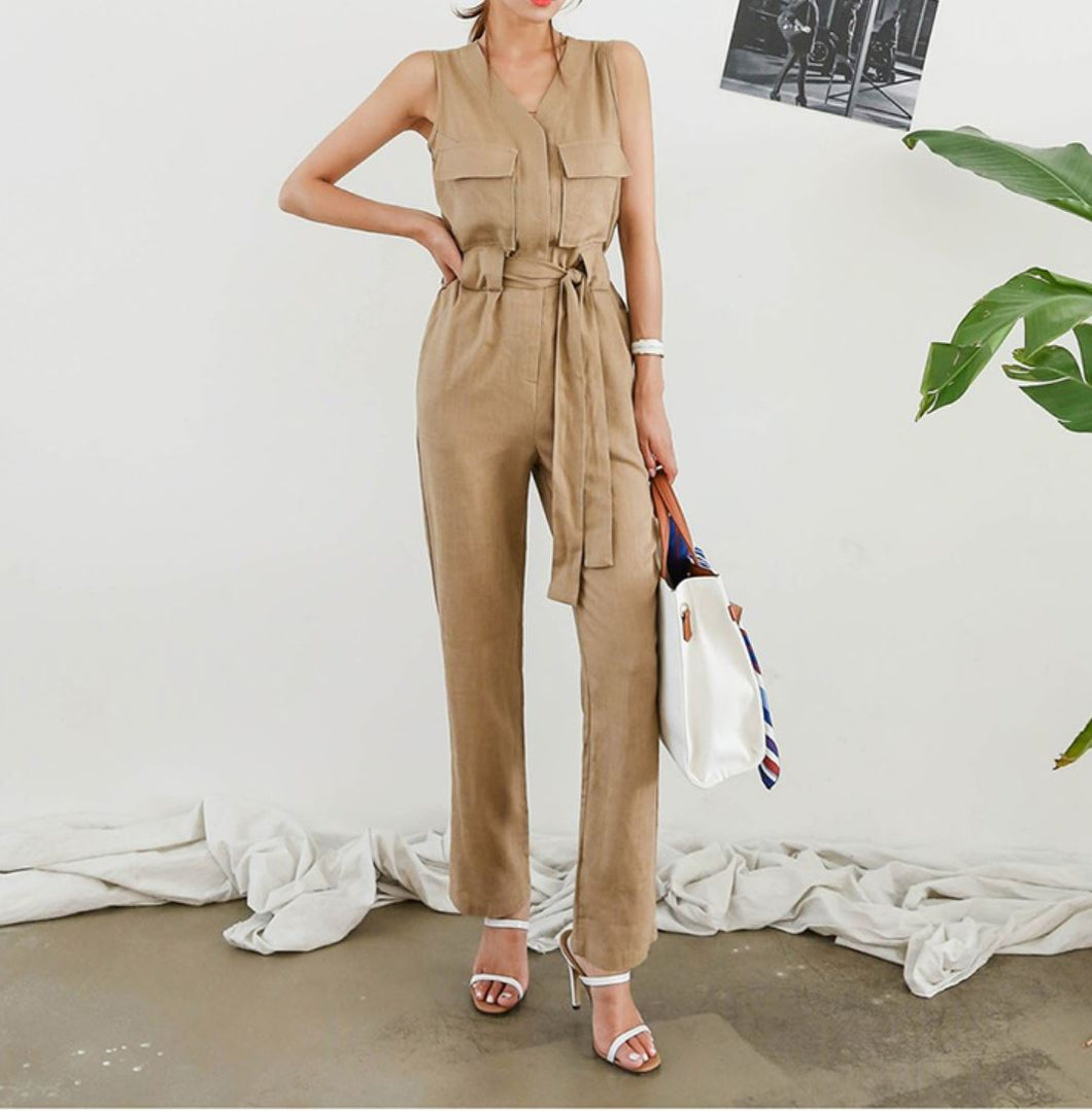 RIBBON TIE CASUAL JUMPSUIT