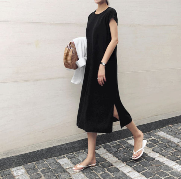 ROUND NECK SLIT MIDI DRESS