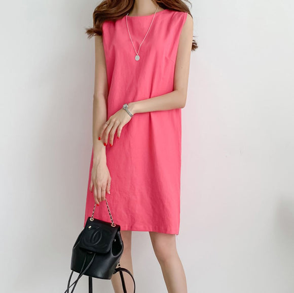 SLIM CUT A LINE LINEN DRESS