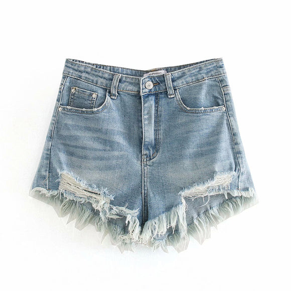 MELISSA RIPPED DENIM SHORTS