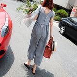 GINGHAM FLARE JUMPSUIT