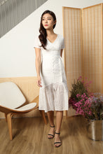 Load image into Gallery viewer, SLEEVE EYELET BUTTON DOWN DRESS (WHITE)