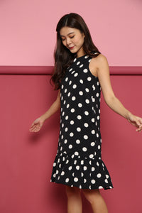 POLKA DROP HEM DRESS