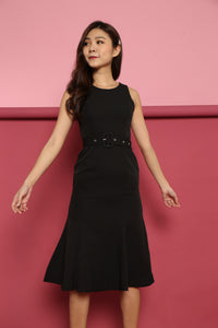 MERMAID HEM WORK DRESS (BLACK)