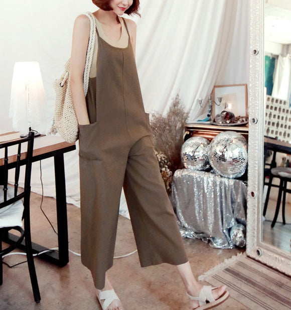 WIDE LEGGED SIDE POCKET JUMPSUIT