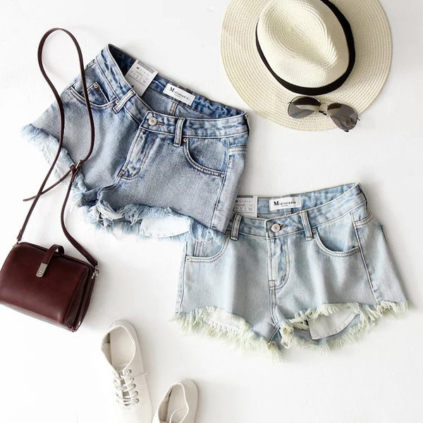 LINDY RIPPED DENIM SHORTS
