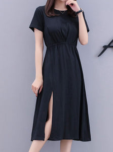 SWING SLIT MIDI DRESS