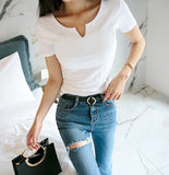 V NECK COTTON BASIC TOP