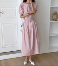 Load image into Gallery viewer, WITH JOY PUFF SLEEVE MIDI DRESS