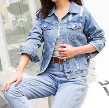 Load image into Gallery viewer, MELODY DENIM RIPPED JACKET