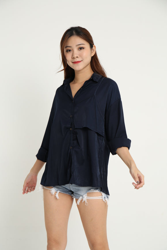 MELLY CASUAL BOYFRIEND SHIRT (NAVY)
