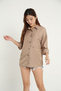 MELLY CASUAL BOYFRIEND SHIRT (KHAKI)