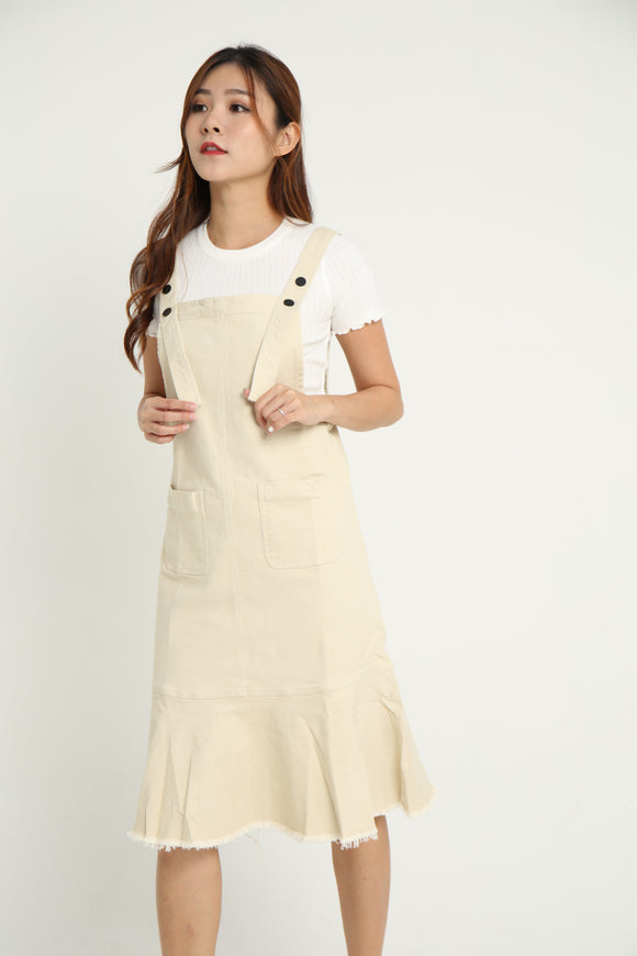 *EXCLUSIVE* CLARKSON MIDI PINAFORE (LIGHT KHAKI)