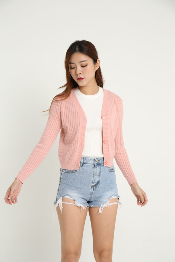 SALLY CROP KNIT CARDI (PINK)