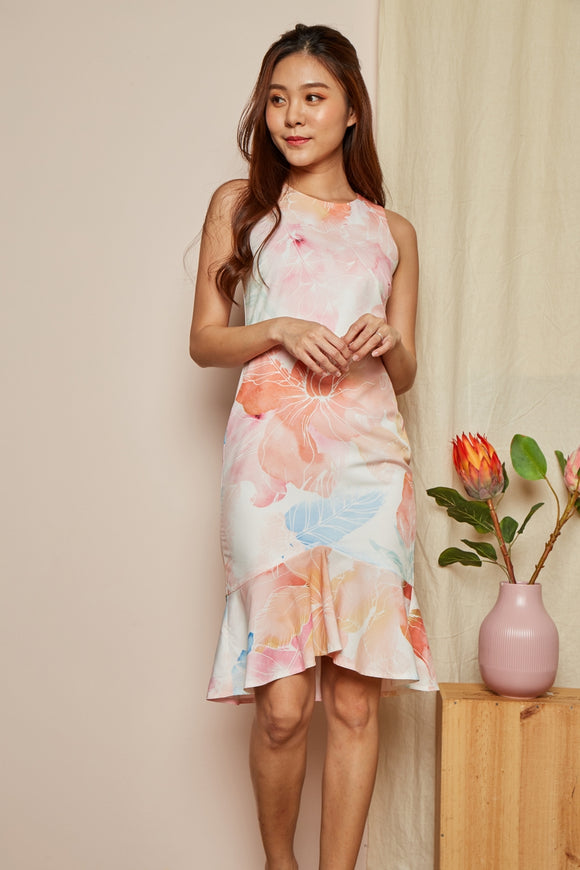 WATERCOLOR FISH TAIL DRESS