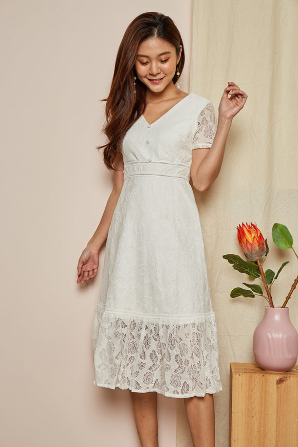JOANNA LACE MIDI DRESS (WHITE)