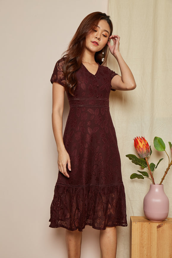 JOANNA LACE MIDI DRESS (WINE RED)