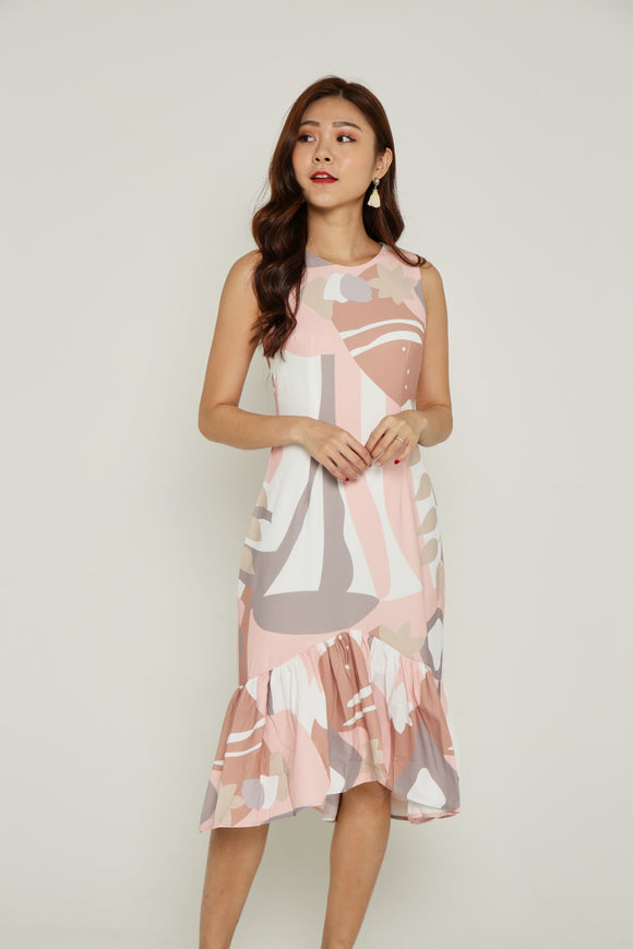 LOUISA ABSTRACT FISH TAIL DRESS