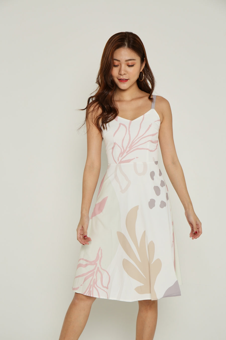 DOODLE ABSTRACT DRESS (PINK)