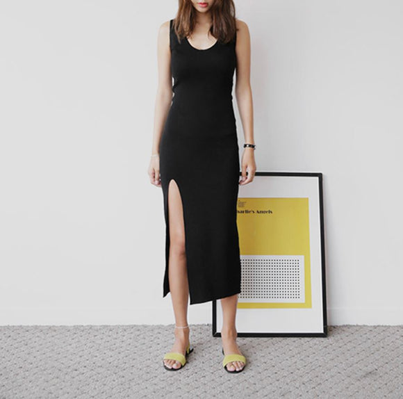 ESCADA SLIT MIDI DRESS