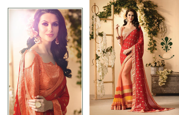 Fabulous Designer sarees in Georgette fabric casual sarees Red color good Marble Print FZ 423