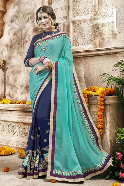 Lovely Classic syle sarees in Georgette fabric party sarees Turquoise & Blue color good Embroidery , Lace Saree FZ 712