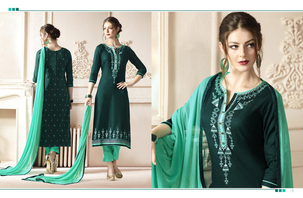 Gorgeous Straight cut in Cotton fabric bridal suits Green color good Embroidery work Salwar Kameez FZ 514