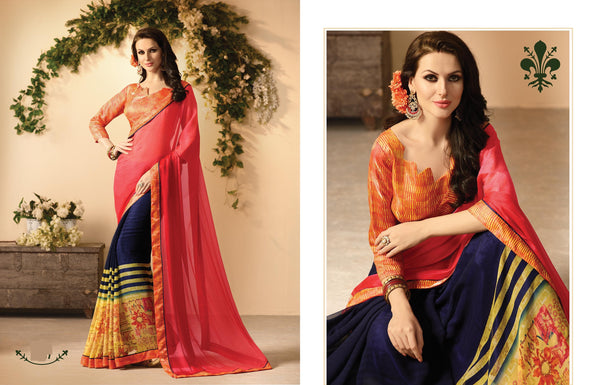Inspiring Designer sarees in Georgette fabric Mehendi sarees Pink , Blue color good Marble Print FZ 426