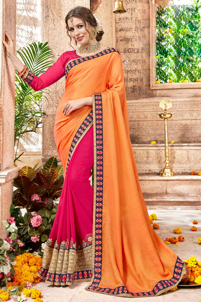 Pretty Classic syle sarees in Georgette fabric party sarees Orange & Pink color good Embroidery , Lace Saree FZ 704