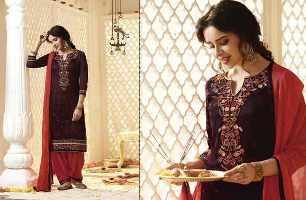 Beautiful Patiyala Brown color good Embroidery Lace Salwar kameez 404