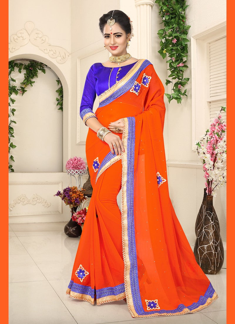 Attractive Crystals Stones, Lace and Embroidery Georgette Saree in Orange Color 169