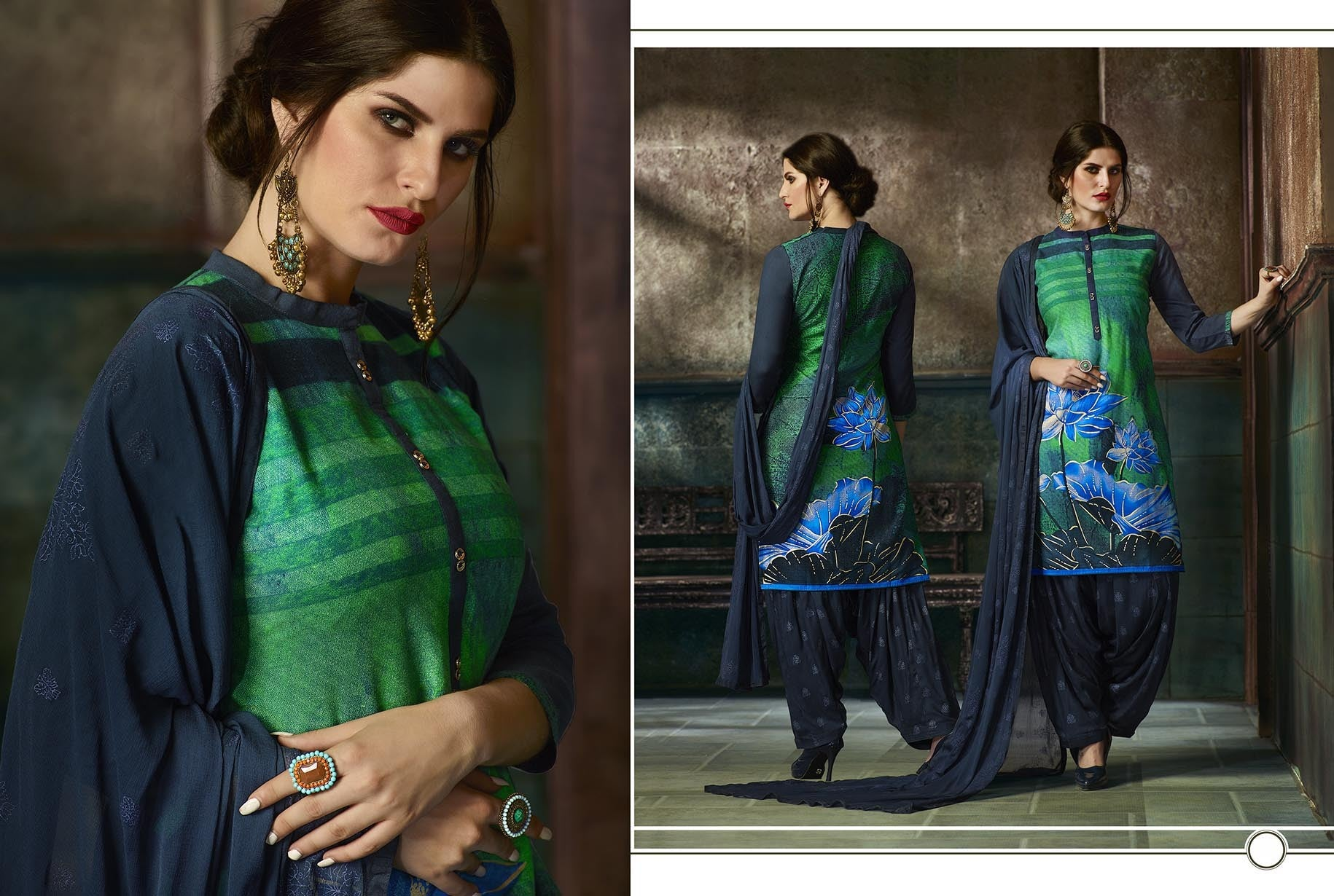 Elegant Patiyala in Green color good Print Salwar kameez FZ 481
