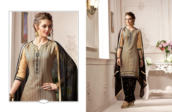 Incredible Patiyala in Pure Chanderi fabric casual suits Beige color good Embroidery , Lace Salwar Kameez FZ 440