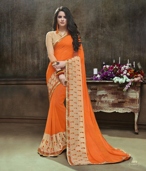 Beautiful Looking Traditinal sarees in Major Georgette fabric Partywear Orange color good Embroidery Saree 625