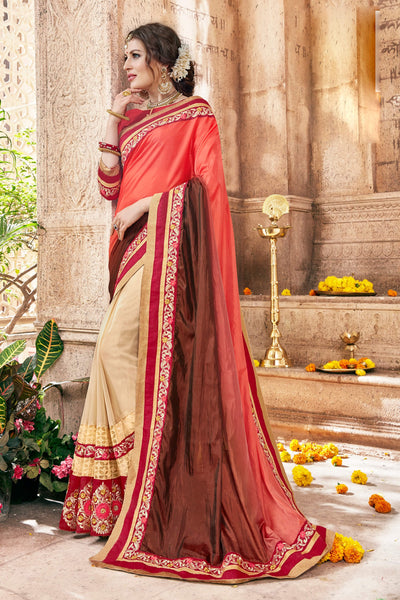 Exquisite Classic syle sarees in Georgette fabric party sarees Peach & Cream color good Embroidery , Lace Saree FZ 713