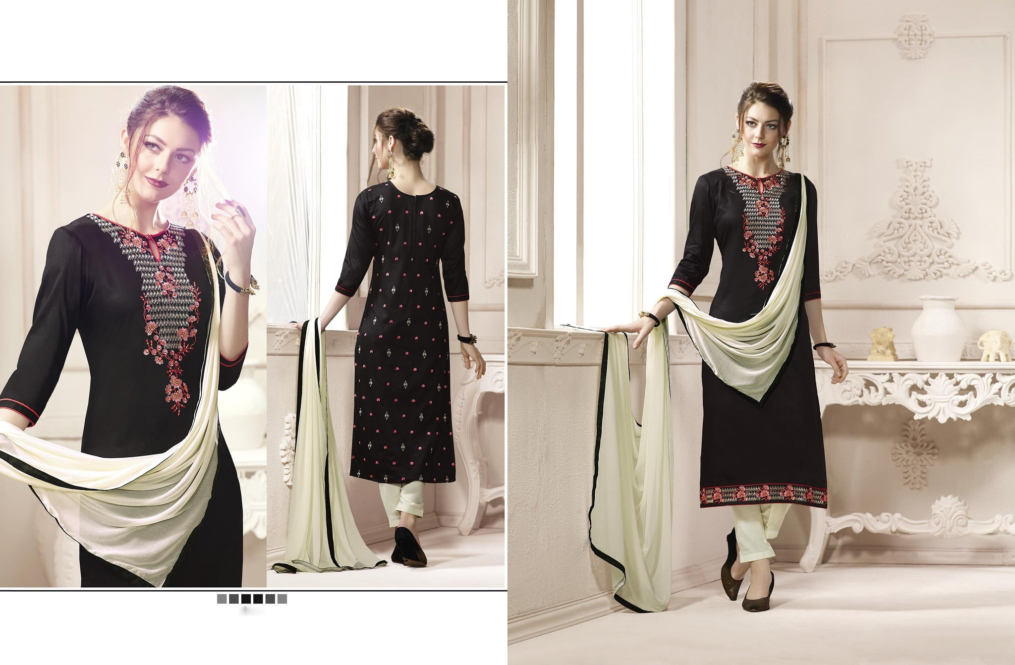 Elegant Straight cut in Cotton fabric bridal suits Black color good Embroidery work Salwar Kameez FZ 517
