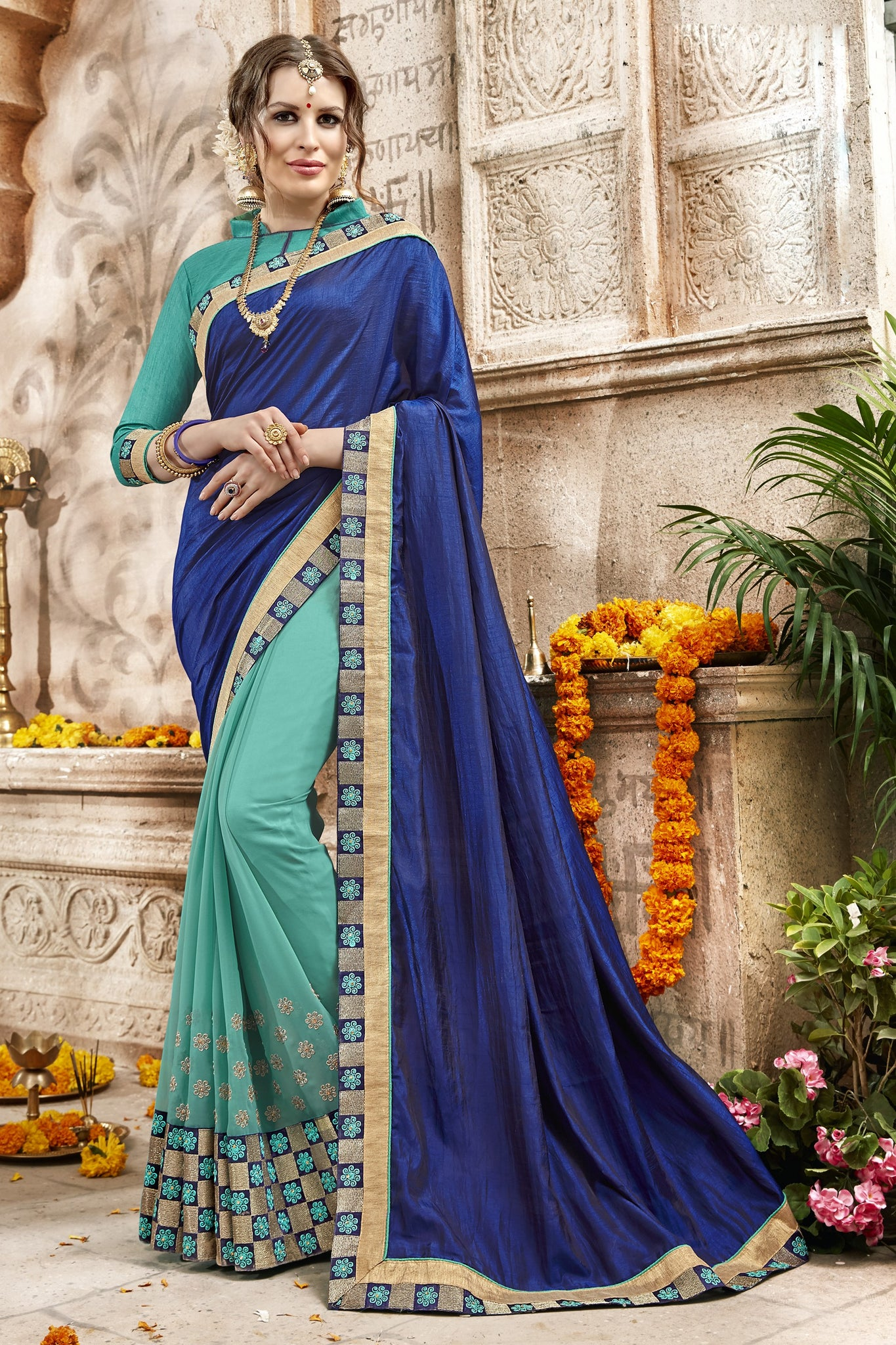 Women's Attractive Looking Classic syle sarees in Georgette fabric party sarees Blue & Turquoise color good Embroidery , Lace Saree FZ 705