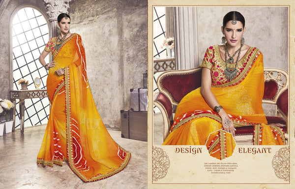 Women's Attractive Looking Designer sarees in Georgette fabric wedding sarees Orange color good Jari, Embroidery,Lace Sarees FZ 469